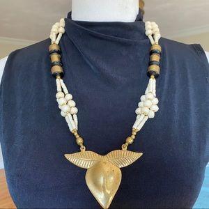 VTG 60s/70s Brass & Bone Boho Statement Necklace